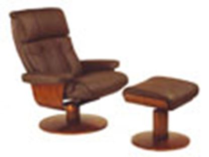 Picture of RECLINER KHAKI LEATHER WALNUT FINISH