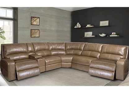 SWIFT Power Reclining Sectional - MSWI-PACKA(H) with a Bourbon leather